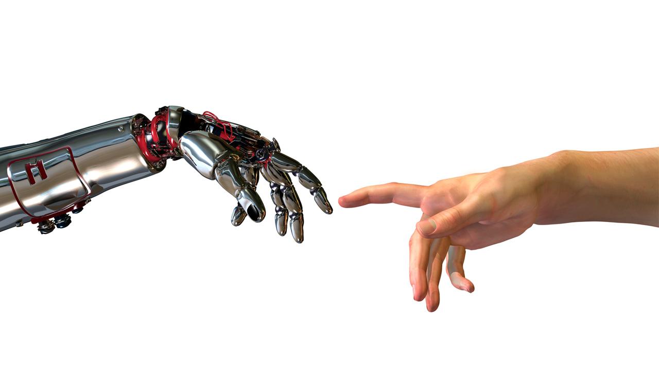 картинка рука робота и человека бар селфи